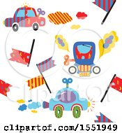 Clipart Of A Car Racing Pattern Royalty Free Vector Illustration by Cherie Reve