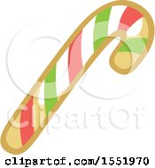 Clipart Of A Gingerbread Candy Cane Cookie Royalty Free Vector Illustration
