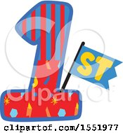 Clipart Of A First Birthday Design Royalty Free Vector Illustration