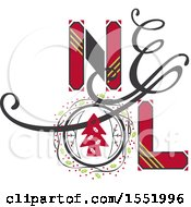 Clipart Of A Noel Christmas Design Royalty Free Vector Illustration