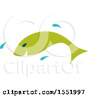 Clipart Of A Jumping Green Fish Royalty Free Vector Illustration