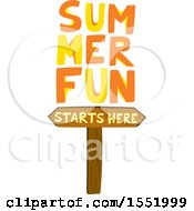 Clipart Of A Wood Summer Fun Starts Here Sign Royalty Free Vector Illustration