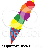 Clipart Of A Colorful Ice Cream Cone Royalty Free Vector Illustration