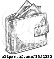 Sketched Grayscale Wallet With Cash Money