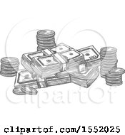 Sketched Grayscale Coins And Cash Money