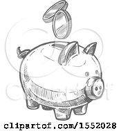 Clipart Of A Sketched Grayscale Piggy Bank With Coins Royalty Free Vector Illustration