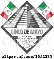 Poster, Art Print Of Retro Styled Cinco De Mayo Design With El Castillo Pyramid And Tortilla Chips