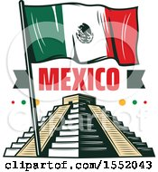 Retro Styled Cinco De Mayo Design With El Castillo Pyramid And A Flag
