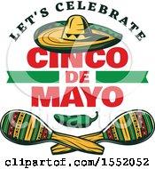Retro Styled Cinco De Mayo Design With A Sombrero Jalapeno And Maracas