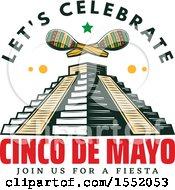 Retro Styled Cinco De Mayo Design With El Castillo Pyramid And Maracas