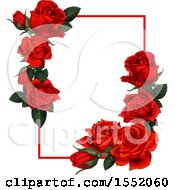 Clipart Of A Red Rose Frame Design Royalty Free Vector Illustration