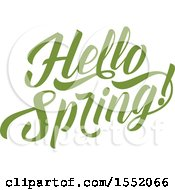 Clipart Of A Green Hello Spring Time Text Design Royalty Free Vector Illustration