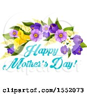 Poster, Art Print Of Happy Mothers Day Greeting And Flower Design