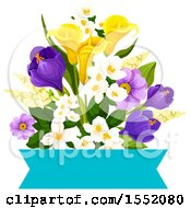 Spring Flower And Banner Design Element