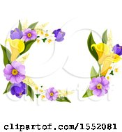 Spring Flower Frame Design Element