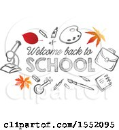 Poster, Art Print Of Welcome Back To School Design With Autumn Leaves