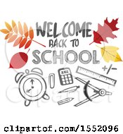 Welcome Back To School Design With Autumn Leaves