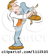 Clipart Of A Cartoon Business Man Tying His Show Laces Wrong Royalty Free Vector Illustration