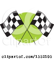 Poster, Art Print Of Crossed Checkered Racing Flags Over Green