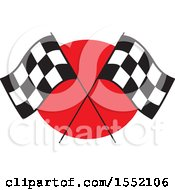 Poster, Art Print Of Crossed Checkered Racing Flags Over Red