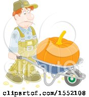 Clipart Of A White Male Farmer Moving A Giant Pumpkin In A Wheelbarrow Royalty Free Vector Illustration