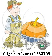 Clipart Of A Caucasian Male Farmer Moving A Giant Pumpkin In A Wheelbarrow Royalty Free Vector Illustration