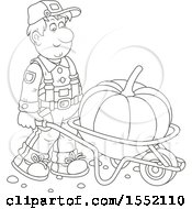 Clipart Of A Lineart Male Farmer Moving A Giant Pumpkin In A Wheelbarrow Royalty Free Vector Illustration