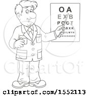 Clipart Of A Lineart Male Eye Doctor Optometrist Pointing To A Chart Royalty Free Vector Illustration by Alex Bannykh