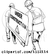 Clipart Of Men Carrying An Under Construction Sign Royalty Free Vector Illustration