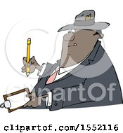 Cartoon Black Business Man Writing On A Clip Board