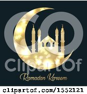 Clipart Of A Ramadan Kareem Design With A Silhouetted Gold Mosque On A Crescent Moon Royalty Free Vector Illustration by KJ Pargeter