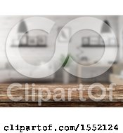 Clipart Of A 3d Wood Counter Surface Against A Defocused Room Royalty Free Illustration