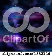 Clipart Of A 3d Colorful Nebula And Planet Sky Royalty Free Illustration