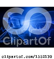 Clipart Of A 3d Man Sprinting Over A Heart Rate Graph Royalty Free Illustration