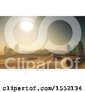 Clipart Of A 3d Desert Sunset With Cacti Plants Royalty Free Illustration by KJ Pargeter