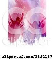 Clipart Of A Silhouetted Concert Crowd In Watercolor Over Text Space Royalty Free Vector Illustration