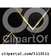Clipart Of A Black And Gold Background Of Triangles On Carbon Fiber Royalty Free Vector Illustration