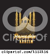 Clipart Of A Ramadan Kareem Design With A Silhouetted Gold Glitter Mosque Royalty Free Vector Illustration by KJ Pargeter