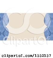 Blue Floral Damask Wedding Invite Or Business Card