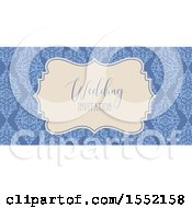 Poster, Art Print Of Blue Floral Damask Wedding Invitation