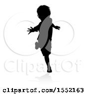 Clipart Of A Silhouetted Boy Playing With A Reflection Or Shadow On A White Background Royalty Free Vector Illustration