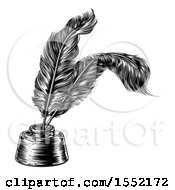 Clipart Of A Black And White Ink Well With Feather Quill Pens Royalty Free Vector Illustration