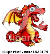 Clipart Of A Cartoon Red Dragon Presenting Royalty Free Vector Illustration