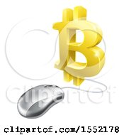 Clipart Of A 3d Bitcoin Symbol Connected To A Computer Mouse Royalty Free Vector Illustration