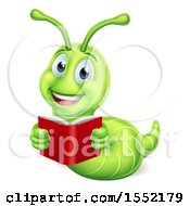 Clipart Of A Happy Green Worm Reading A Book Royalty Free Vector Illustration by AtStockIllustration
