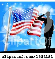 Clipart Of A Silhouetted Full Length Male Military Veteran Saluting Over An American Flag And Sky Royalty Free Vector Illustration by AtStockIllustration