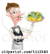 White Male Waiter Pointing And Holding Fish And A Chips On A Tray