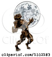 Poster, Art Print Of Full Length Werewolf Beast Howling And Transforming Against A Full Moon