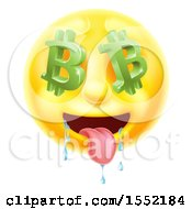 Clipart Of A 3d Drooling Yellow Male Smiley Emoji Emoticon Face With Bitcoin Symbol Eyes Royalty Free Vector Illustration by AtStockIllustration