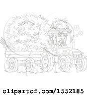 Clipart Of A Lineart Male Farmer Hauling Hay With A Tractor And Trailer Royalty Free Vector Illustration